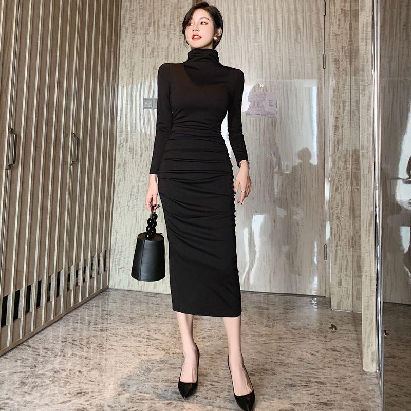 Платье весеннего 2020 новая сплошная черная рушана водолазка Midi Party платье мода тонкие элегантные платья Vestidos женщина