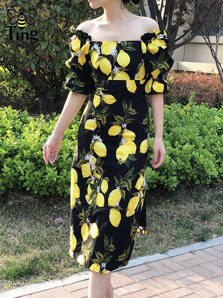 2020 sirena sexy estate Designer Limone stampa floreale della signora Dress La retro collo quadrato Street Fashion Midi Stright Dress Frocks donne