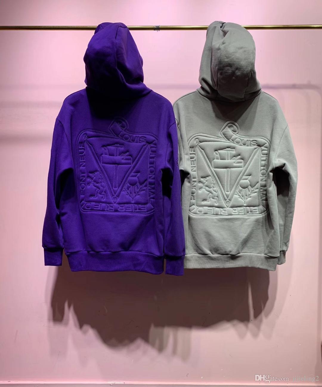 2019 güz yeni moda erkek kabartma desen hoodies ABD BOYUTU hoodie gevşetin stil ~ tops erkek tasarımcı hoodies