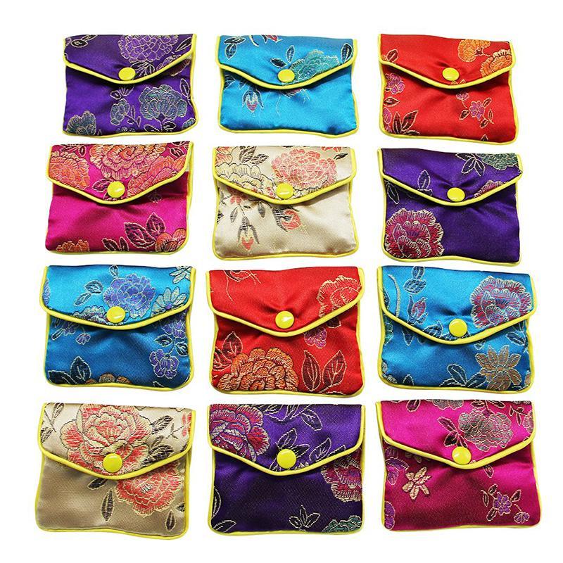 Borse 12pcs broccato ricamo borsa sacchetto di regalo per Storaging ciondoli gioielli Confezione Regalo Forniture NUOVO