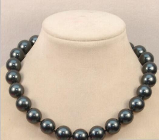 Collar de perlas de concha redonda blanca púrpura de 16 mm blanco