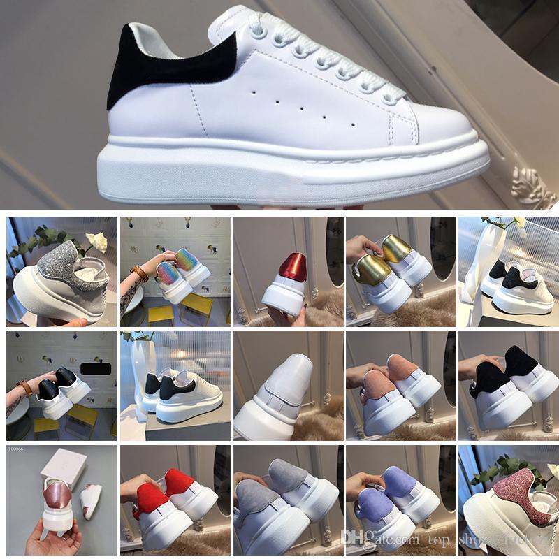 Con el diseñador de la caja de la nueva manera de las zapatillas de deporte de moda suela gruesa para caminar de cuero zapatos de vestir planos ocasionales cómodo tamaño de los zapatos 35-43