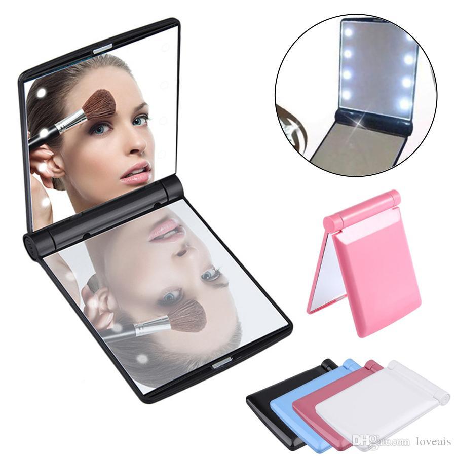 Portable 8 luci LED trucco Specchi doppio-Sided Cosmetic Mirror pieghevole compatto specchio della tasca con le lampade donne attrezzo di bellezza