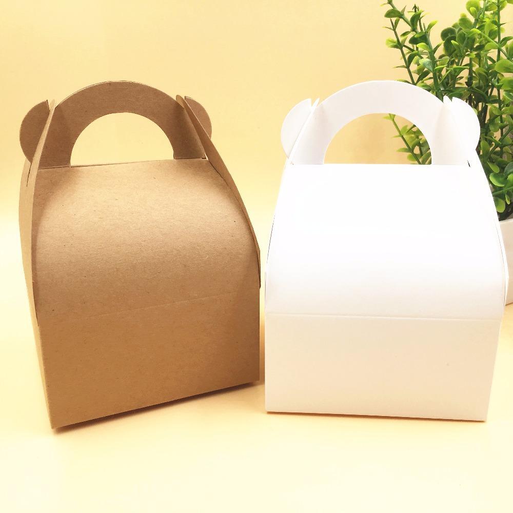 50pcs 10x10x14.5cm Kraft Wedding Party Favors Gift Boxes Blank Chocolates/Cake/Handmade Food/Candy Box Paper Storage Boxess