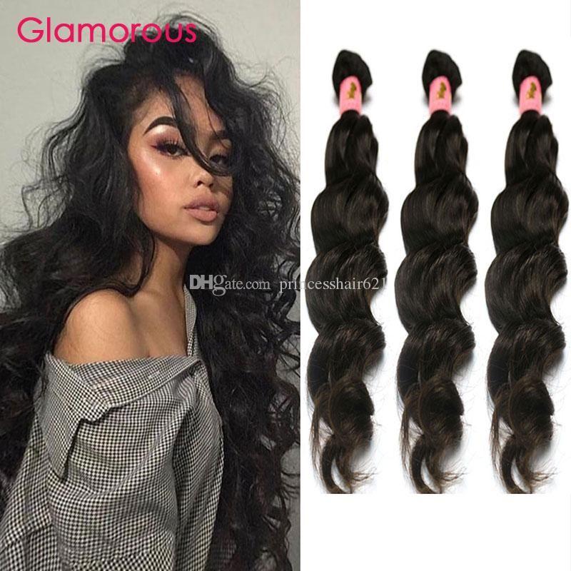 매력적인 브라질 인간의 머리카락 짜다 번들 자연 웨이브 물결 모양의 머리 묶음 3 조각 흑인 여성을위한 브라질 머리 위브