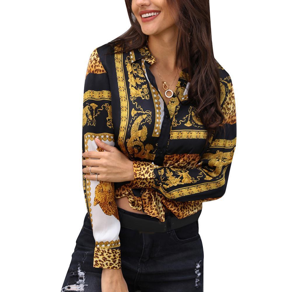 Femmes Chemises Vêtements Bouton imprimé léopard nouées tour collier vers le bas à manches longues Casual vrac Boho Chemisier Top