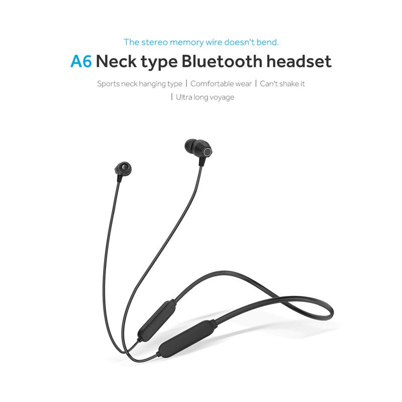 A6 Bluetooth 5.0 Sport Headset Wireless Neckband One Headset Connect Two Phones for Running Mobile Phone Headphone