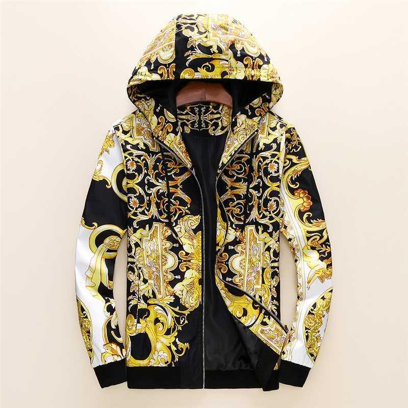 مصمم أزياء الرجال سترة سترة واقية كم طويل رجل الزهور الستر هوديي الملابس زيب حتى معطف سترة بالاضافة الى حجم الملابس