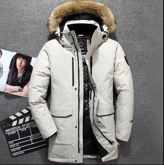 Новые высокого качество Winter Мужская пуховик куртка отдых Марк средней длиной открытого утолщение пуховик теплым Ский Мужское пальто лица