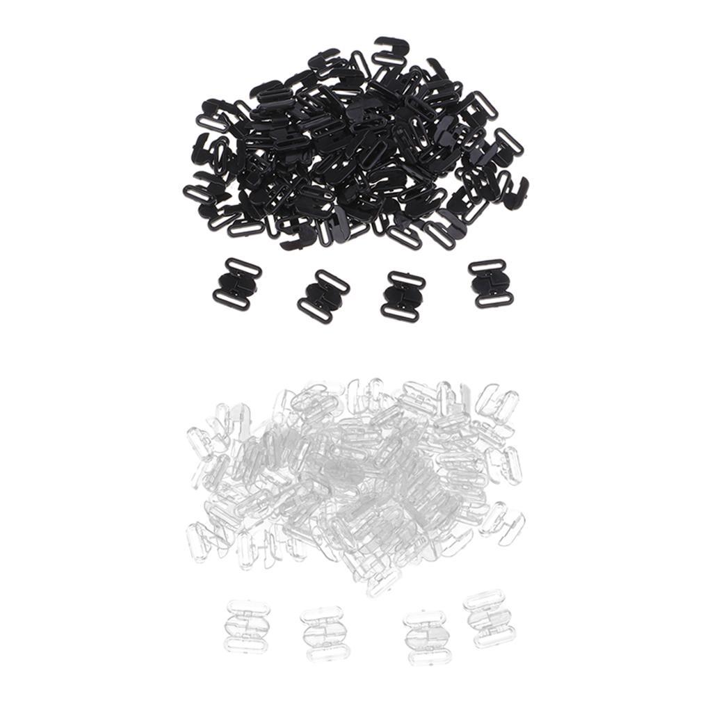 100 insiemi del bikini Bra Clip gancio di chiusura Chiusura di fissaggio Forniture per cucire Clear Black 10 millimetri