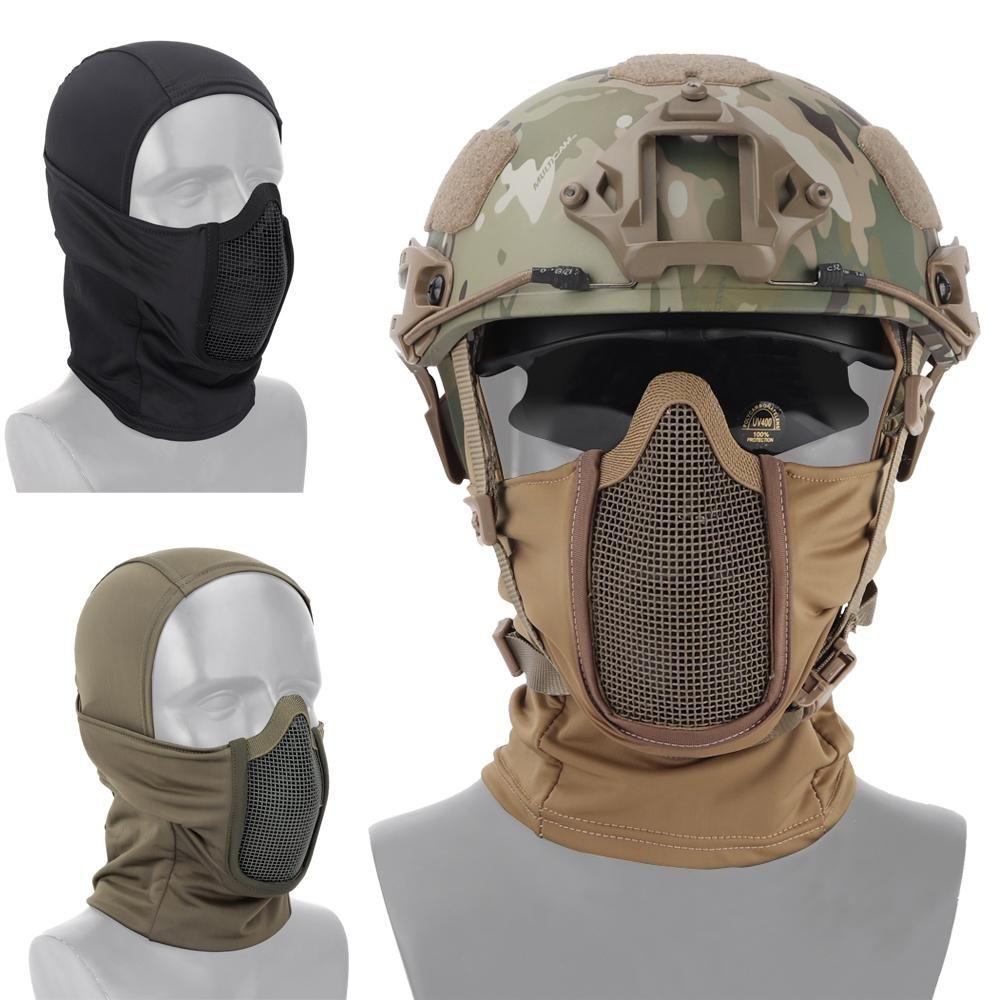 Taktik Tam Yüz Maskesi Balaclava Cap Motosiklet Ordu Airsoft Paintball Şapkalar Metal Mesh Av Koruyucu Maske