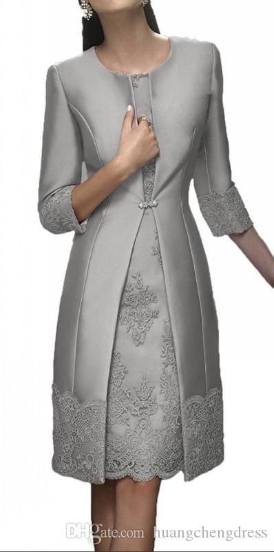 Curto Mãe Formal Wear Com Jacket Evening partido do laço de cetim de convidados do casamento Vestido Mãe dos vestidos de terno do noivo da noiva de vestido