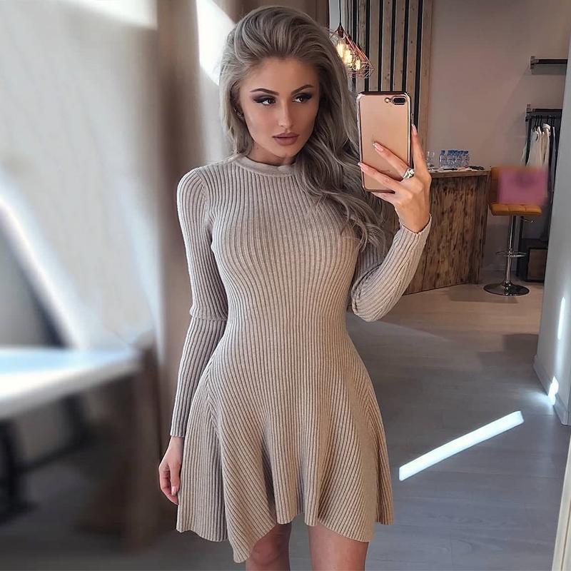 Casual dobladillo irregular de las mujeres suéter manga larga vestido de las mujeres del invierno del otoño vestido de las mujeres del O-cuello una línea corta Mini vestidos de punto