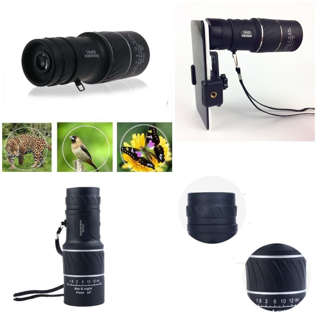 Gündüz Gece Görüş 16x52 HD Optik Monoküler Avcılık Kamp Yürüyüş Teleskop Telefon Kamera Lens Zoom Mobil Kapsam Evrensel Dağı Adaptörü