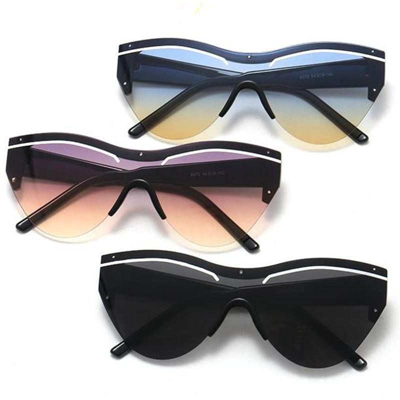 Mode Femmes Hommes siamois Objectif Lunettes de soleil Semi-Rimless Lunettes de soleil Lunettes Lunettes anti-UV Lunettes Goggle Adumbral A ++