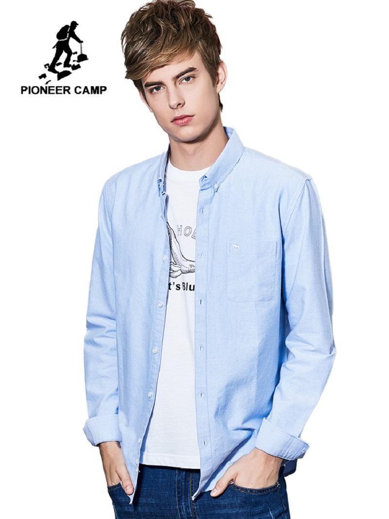 Мужской 2019 олень вышивка классический бизнес Мужские рубашки с длинным рукавом 2 цвета 100% хлопок рубашка ACC901186