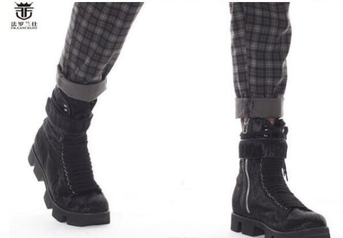 جديد أزياء الرجال الفراء الأسود أحذية الراقية الدانتيل يصل الرجال الأحذية كعب سميك الحصان الفراء الرجال أحذية الشتاء منصة الأحذية