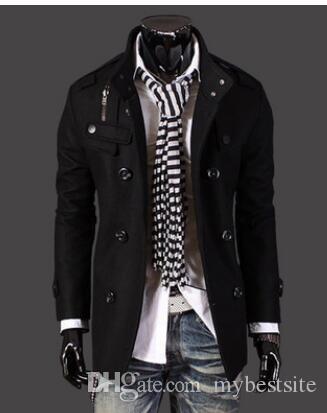 Neue Art und Weise der Männer Luxuxart dünne beiläufige Doppel-Knopf-Jacken-Mantel-Mantel-Mann-Oberbekleidung Schwarz Grau Größe M-4XL Y002