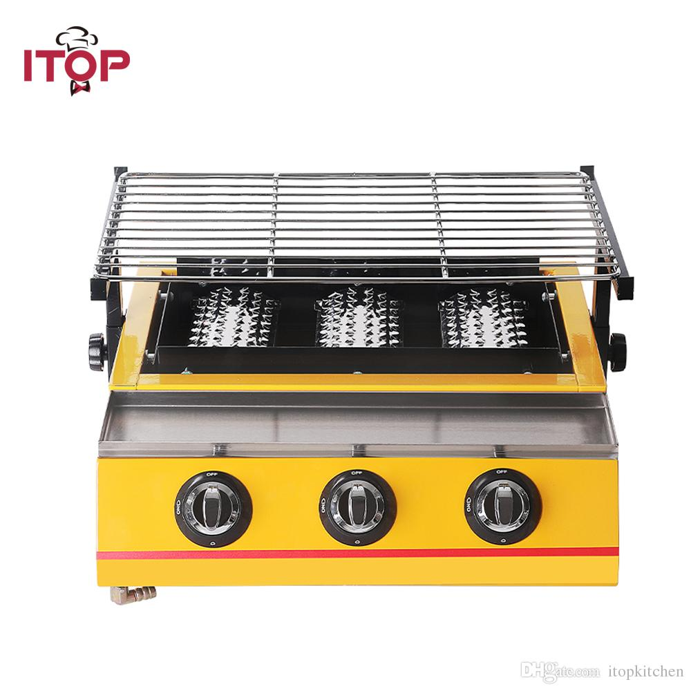 3 burners BBQ Grill,Gas Barbecue Portable Flat Environmental for Outdoor Picnic, Party,Infrared Adjustable Height