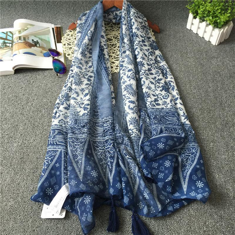 Nation Wind Tourism Silk Scarf Literature Small Fresh Encryption Voile Blue And White Porcelain Tassels Scarf Shawl