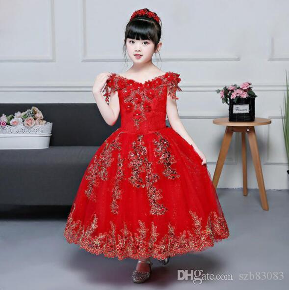 2019 Novo Beading Apliques Bordados Vestido De Baile Com Decote Em V Strapless Vermelho Longo Vestidos Da Menina de Flor Primeira Comunhão Vestidos Para Meninas