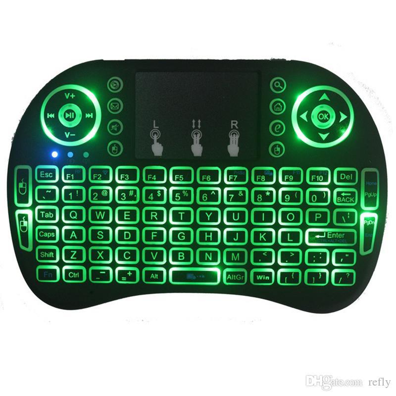 لوحة المفاتيح I8 مصغرة الخلفية 2.4G اللاسلكية يطير ماوس الهواء مع الخلفية لوحة اللمس Controlers 3 ألوان البعيد لMXQ الموالية X96 TV صندوق شكا دي إتش إل الحرة