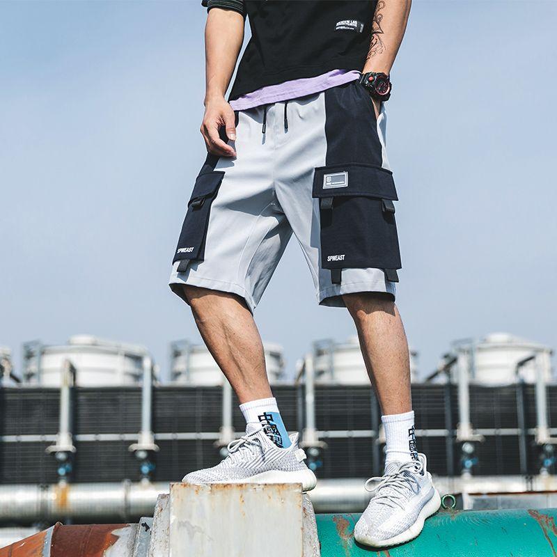 Streetwear été Shorts Casual Side-Poche cargo Shorts Hommes 2020 New Bermuda Longueur genou Hommes Pantalon court