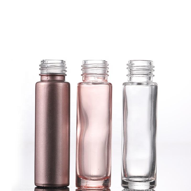 Oro rosa 1000pcs Lote 10 ml Rodillo vacío botella de perfume recargable en botellas de vidrio y ruedas para los aceites esenciales
