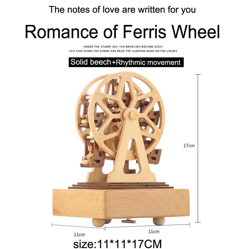 roda gigante de madeira girando presente criativo nova caixa de música de madeira