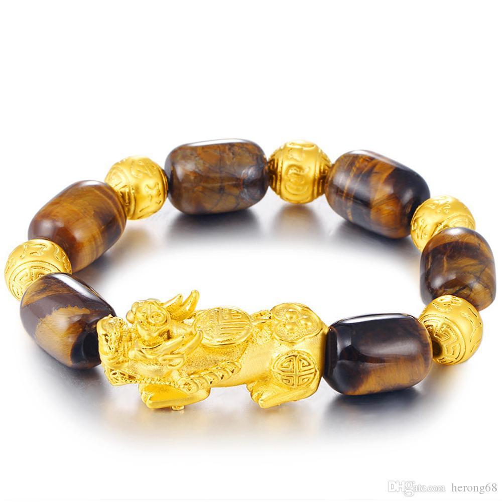 3D chapado en oro Pixiu encantos Natural ojo de tigre con cuentas pulsera de transferencia de la suerte de la mascota para los hombres