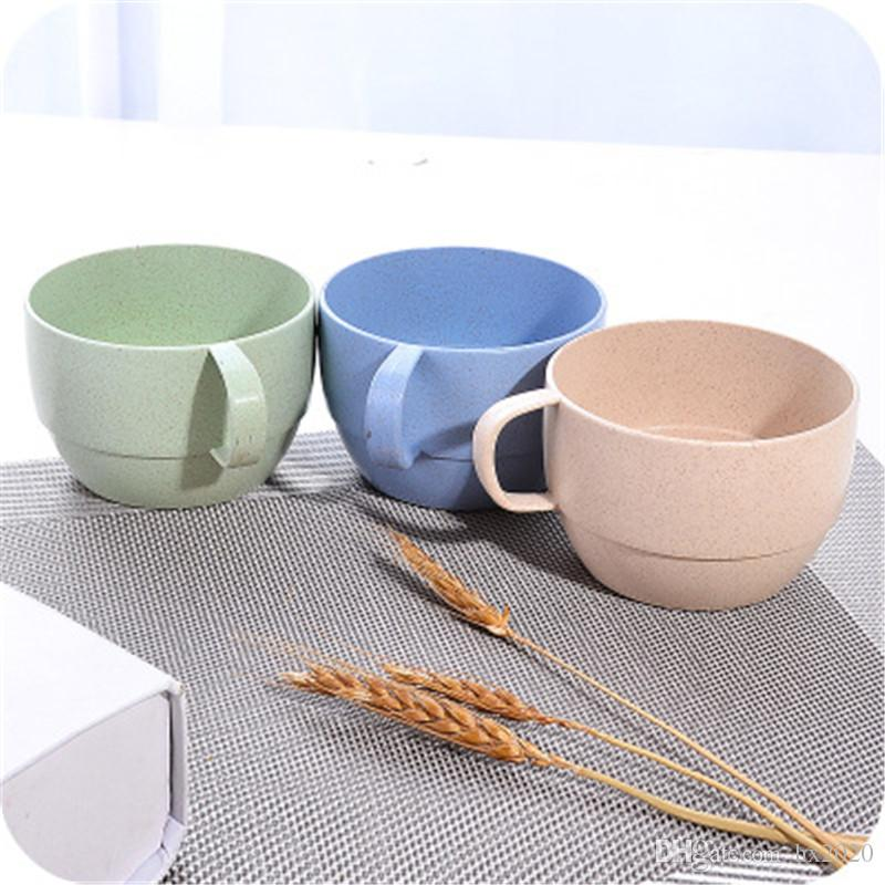 4 colors Wheat Straw Milk Coffee Cup Teacup Mug Nordic Style Simple Water Cup With Handle Mouthwash Cups JXW067