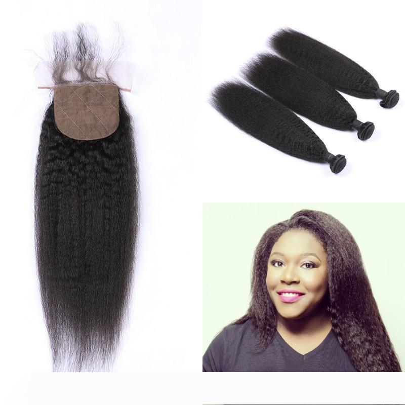 Kinky Droit réel cheveux humains 3 Bundles avec soie Base de fermeture du Pérou de Vierge Cheveux libre Moyen 3 Partie FDSHINE