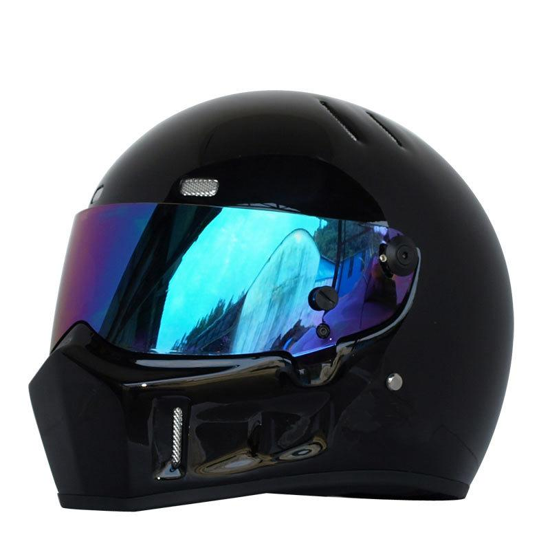 Motorcycle Full Helmet Autumn Winter Warm Kart Racing Glass Riding Motocross Helmet Unisex ATV-1 Black/Elegant Black/White
