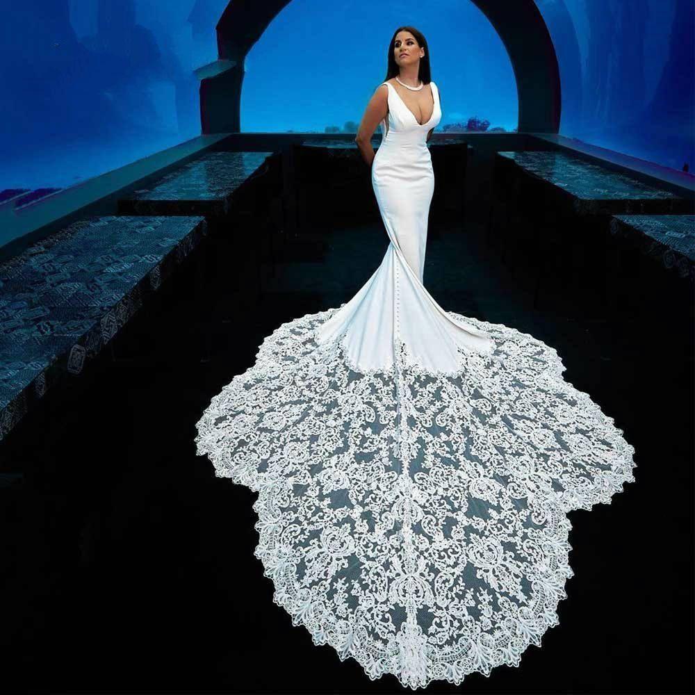Setwell profundo decote em V Branco Sereia vestidos de casamento mangas até o chão longo Lace apliques Train vestidos de noiva