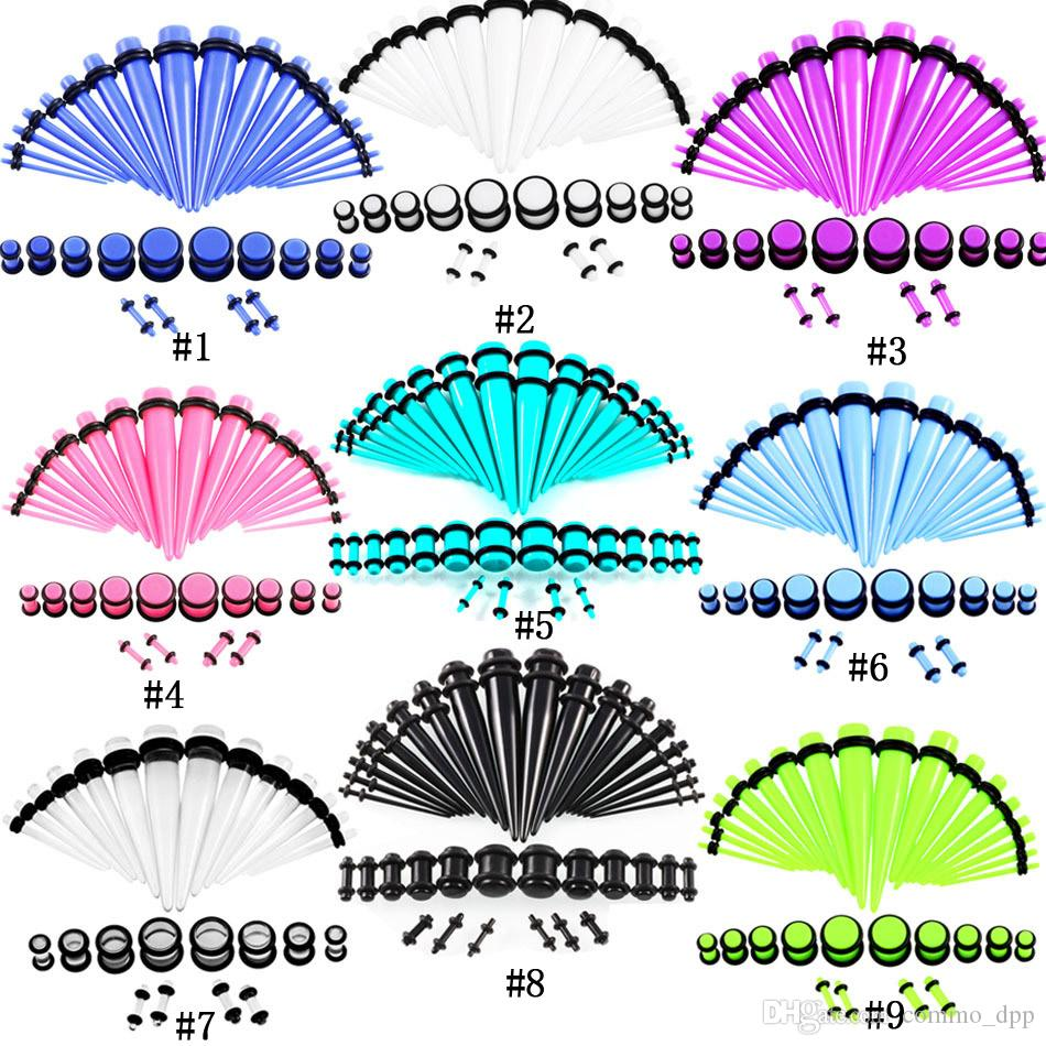 36pcs / lot de acrílico del oído de medición de conos y enchufe Kits de estiramiento Mixta del oído color túneles de la carne de expansión joyería del cuerpo del regalo Piercing