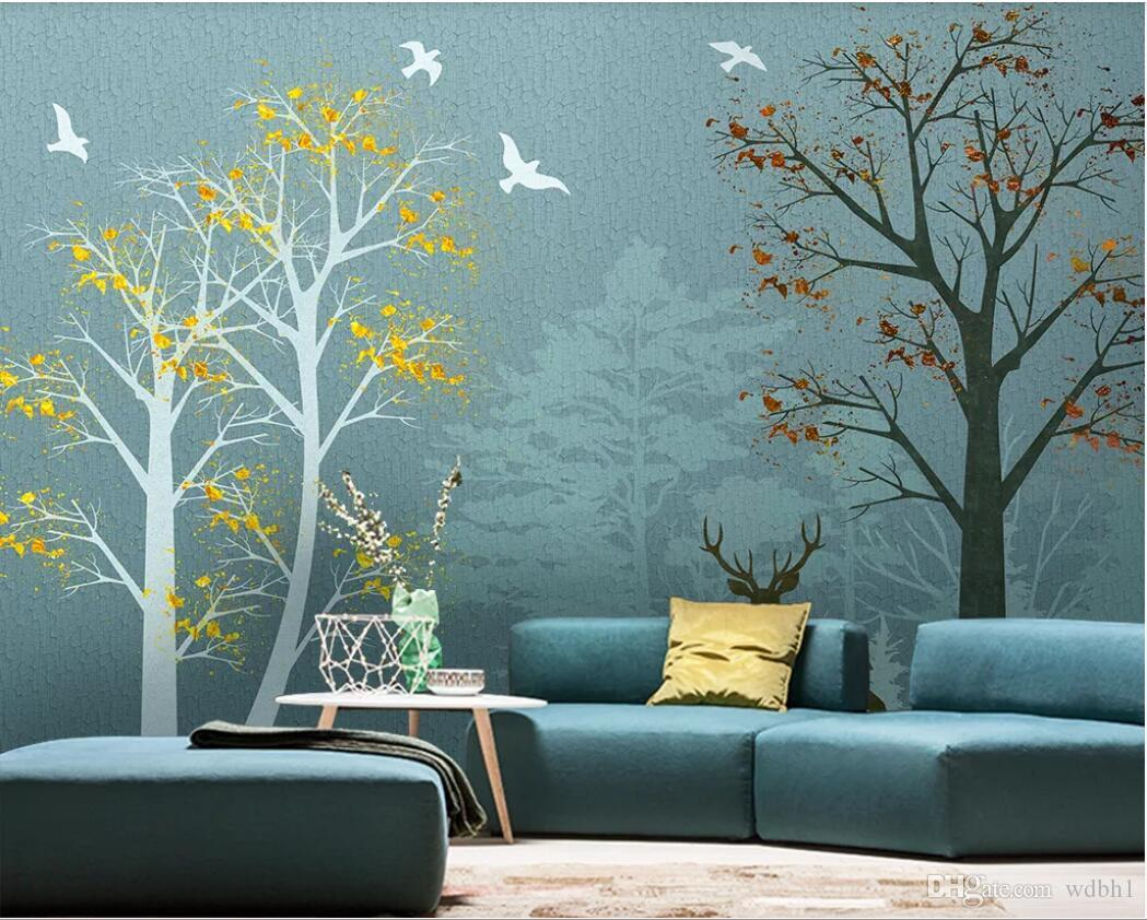 3d room wallpaper custom photo mural Nordic woods landscape modern minimalist background wall art canvas pictures wallpaper for walls 3 d