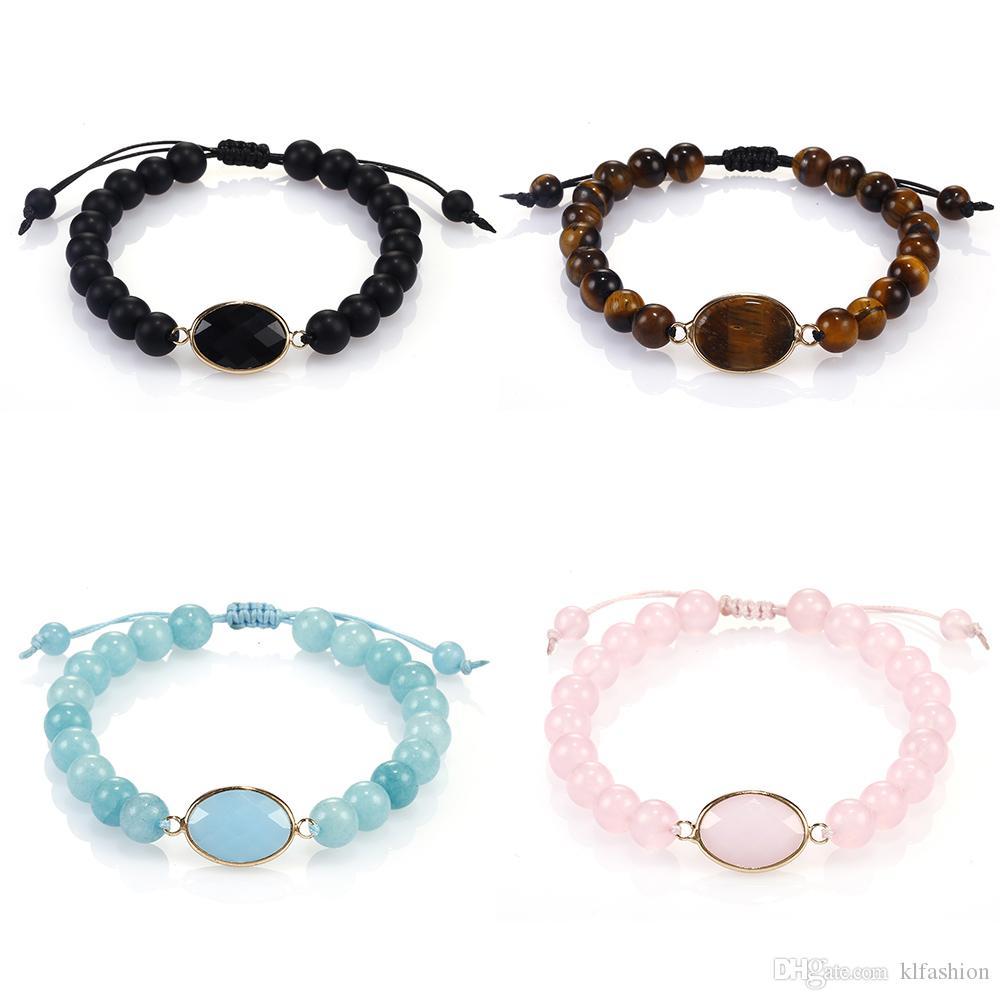 Las pulseras más nuevas Piedras preciosas naturales de abalorios encanto de la piedra del ojo del tigre de las mujeres de 8 mm ajustable trenzada a mano joyería de la pulsera de moda regalo