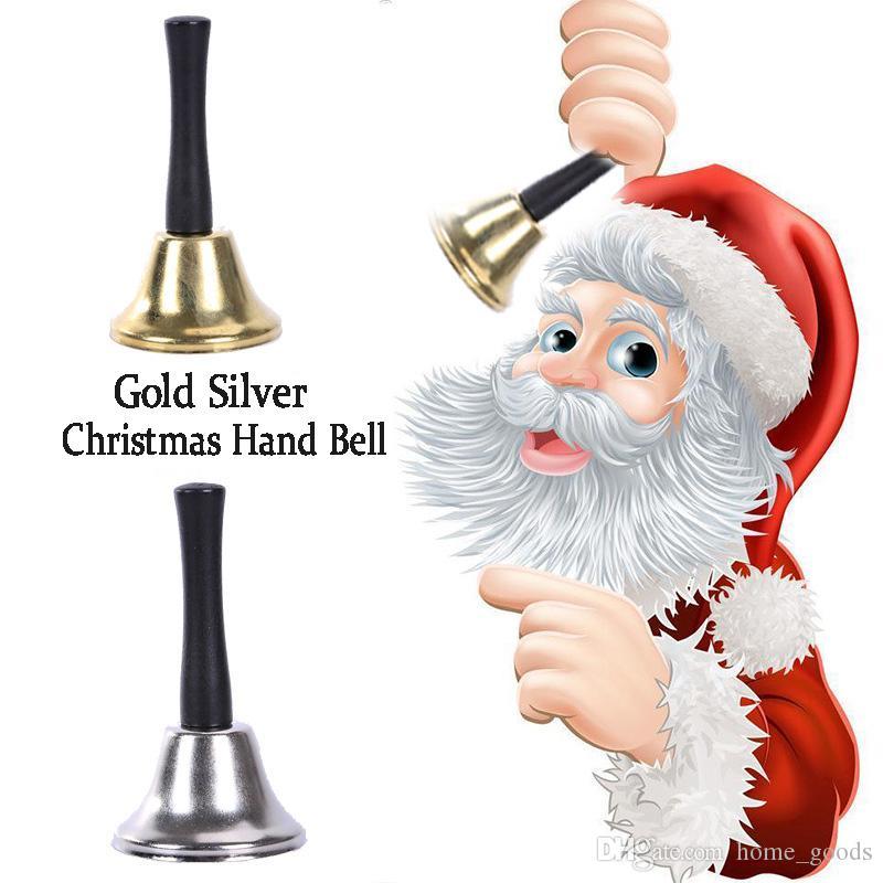 Рождественские элементы Санта Клаус погремушки деревянные ручки металлические Рождественские колокольчики Золото Серебро Новый год Xmas украшения колокола класса для домашних животных колокольчики