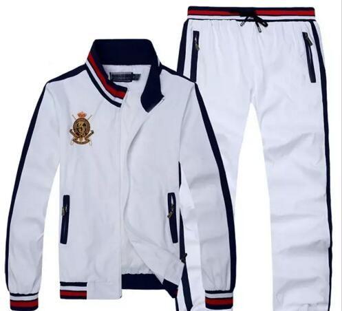 Toptan - 2018 sıcak satmak Men039; Suit Koşu ler Hoodies ve Tişörtü Spor Man Polo Ceket pantolon Suits Men039 Sweat; ın Eşofmanlar