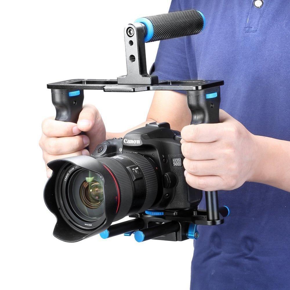 Freeshipping алюминиевого сплава камеры видео Кейдж фильм делая комплект: видео Кейдж + ручка сцепление + стержень для Canon5D / 700D / 650D / Nikon / Sony DSLR