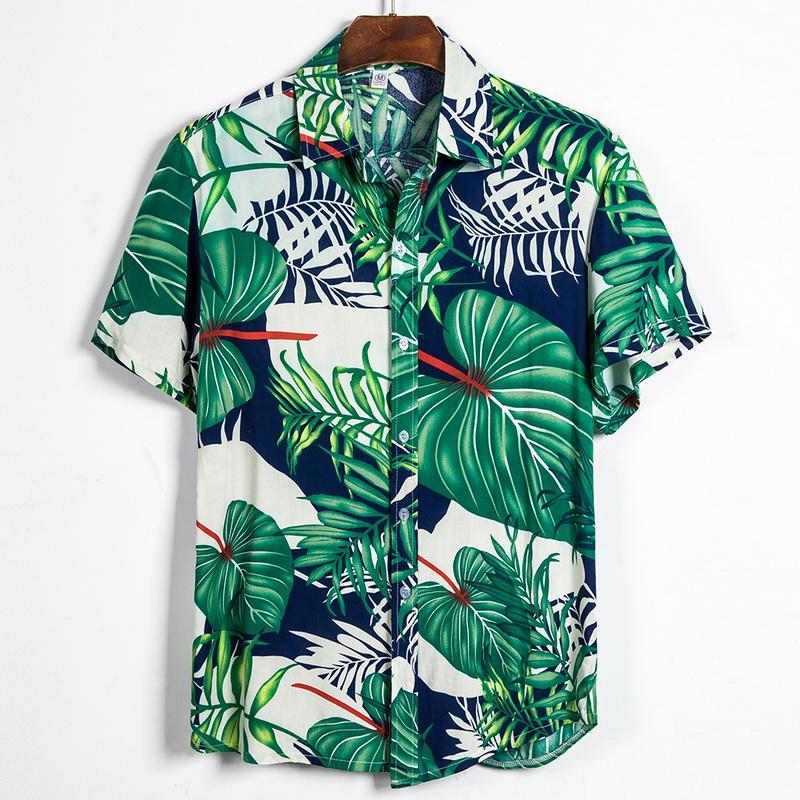 La nueva llegada de los hombres de verano de Hawai camisas sport Botón Hombres Tropical manera de las tapas camisas ocasionales de la manga corta de los hombres adelgaza las camisas aptas
