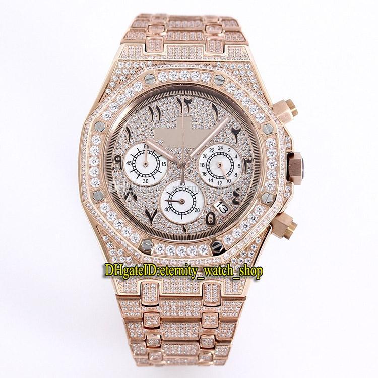 De calidad superior Marino 26320ST 26320BA 26320OR los números árabes del dial relojes de lujo de oro rosa diamante caso Japón VK cronógrafo de cuarzo para hombre