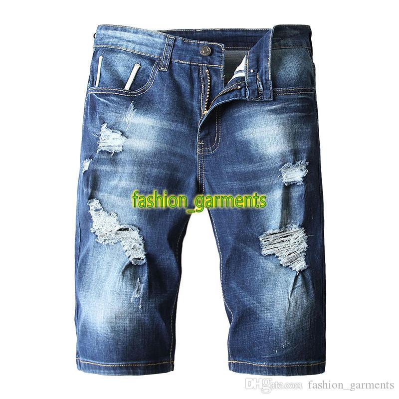 2019 лето новые мужские джинсовые шорты мужские шорты лето Hole мужские Тонкий европейский и американский стиль Jeans стилиста Denim шорты