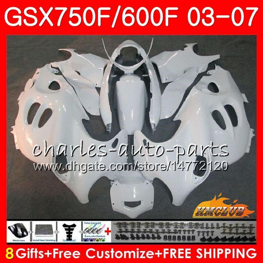 Lichaam voor Suzuki Katana GSXF750 GSXF600 GLOSSY WHITE 2003 2004 2005 2006 2007 3HC.27 GSX600F GSX750F GSXF 600 750 03 04 05 06 07 Fairing Kit