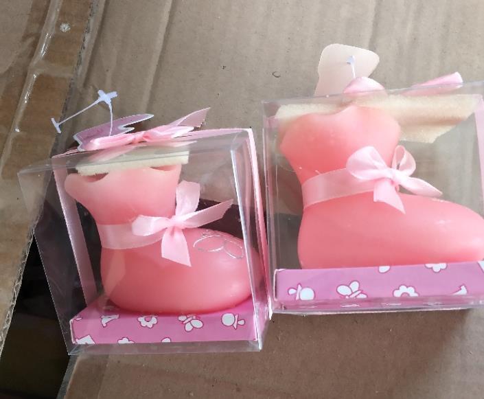 100pcs bebek duş iyilik mum hediye - Bebek Mum zanaat mum bebek iyilik doğum günü partisi dekorasyon parti hediye Ayakkabı