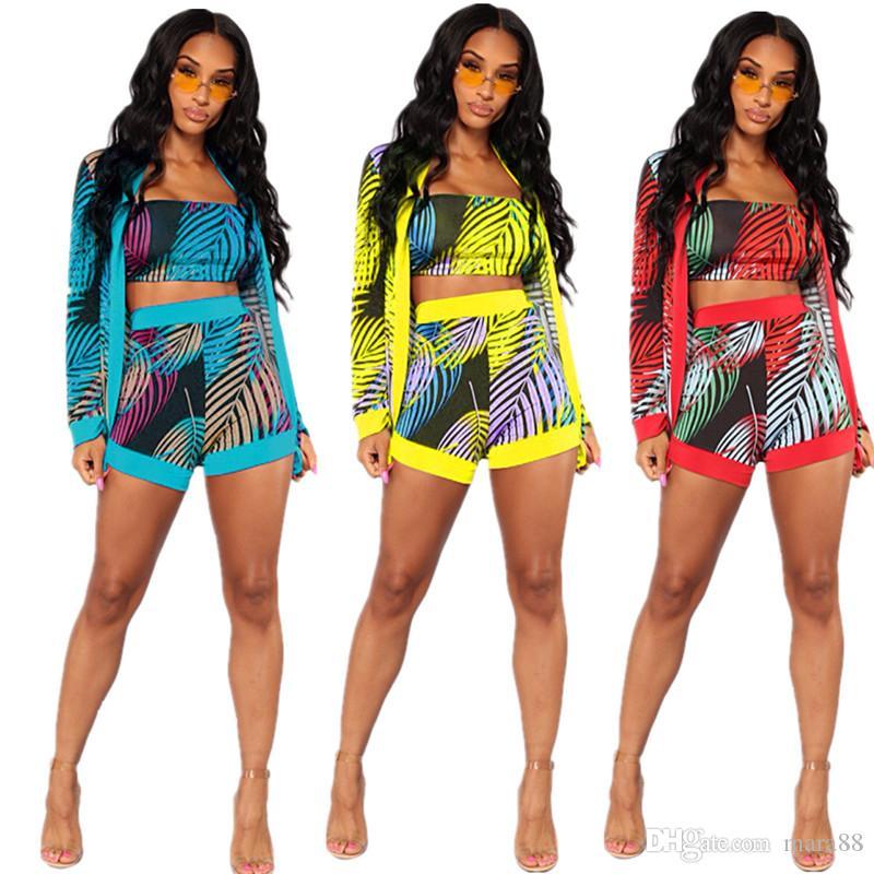 Bayan eşofman ceket baskı üç parçalı setleri tasarımcı yaz giyim askısız ince t-shirt bodycon mini şort uzun kollu hırka 868