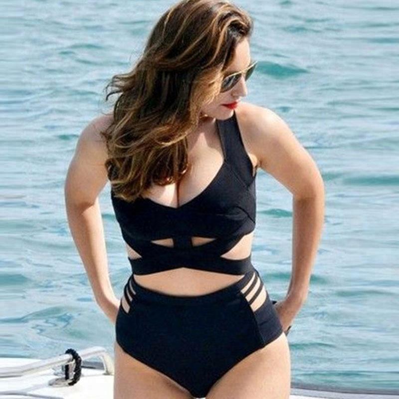 고급 복고풍 여성 플러스 사이즈 높은 컷 커버 최대 monokini 원피스 수영복 폴리 에스테르 와이어 무료 수영복 원피스 수영복