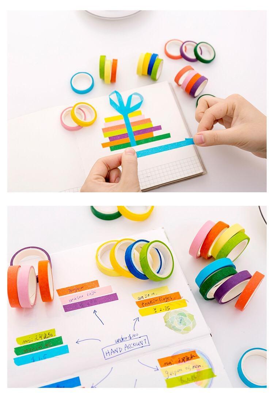 Set di nastri washi in carta color arcobaleno Etichetta fai da te con nastro adesivo di carta strappata a mano 10 rotoli per set 2016 -8