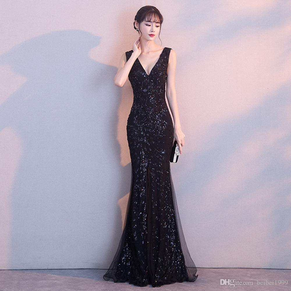 High-end preto banquete vestido de noite longa seção 2019 novo high-end anual reunião fishtail saia mulheres vestido