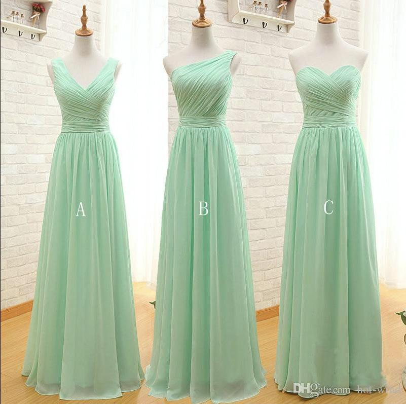 Nane Yeşil Uzun Şifon Nedime Elbisesi 2019 Bir Çizgi Pileli Plaj Gelinlik Modelleri Honor Düğün Konuk Teftileri Vestidos de Madrinha